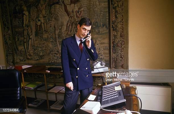 Nicolas Bazire Principal Private Secretary to French Prime Minister Edouard Balladur in his office at Matignon on April 2 1993 in Paris France