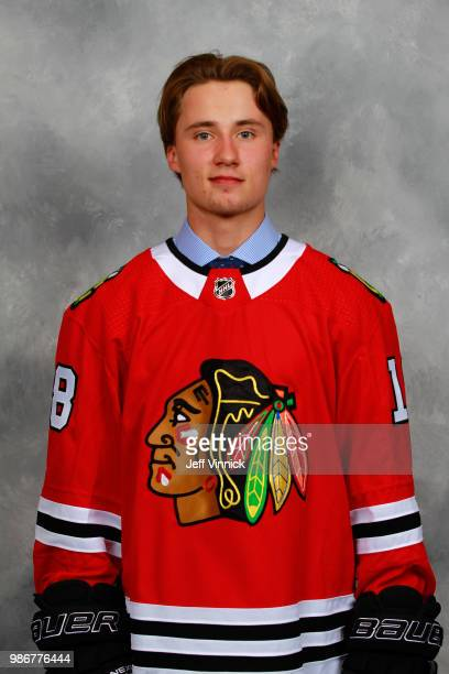 Nicolas Beaudin poses for a portrait after being selected twentyseventh overall by the Chicago Blackhawks during the first round of the 2018 NHL...