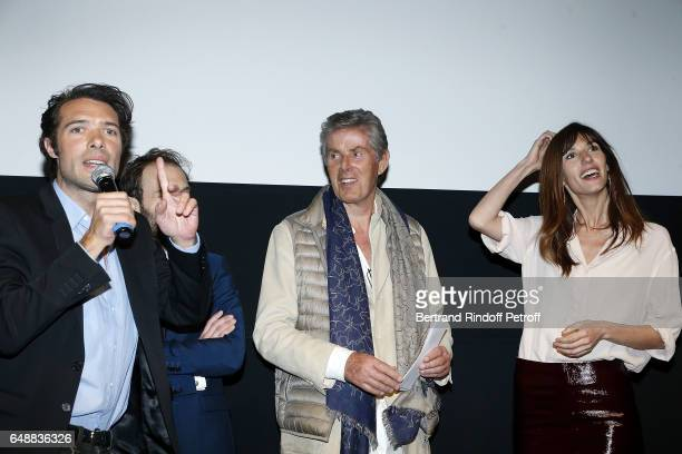 Nicolas Bedos Antoine Gouy Dominique Desseigne and Doria Tillier attend 'Monsieur Madame Andelman' Premiere Hosted By Fondation Barriere at Cinema...