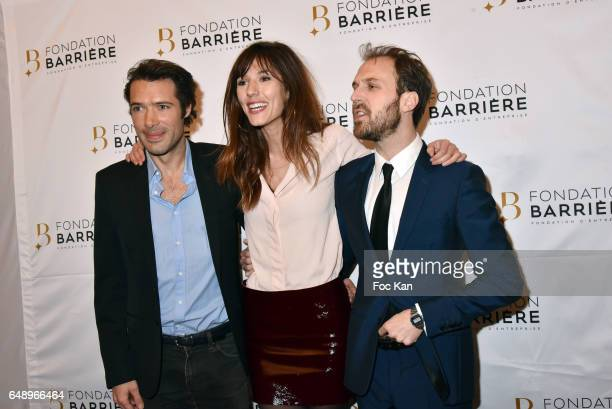 Nicolas Bedos Doria Tillier and Antoine Gouy attend 'Monsieur et Madame Adelman' Premiere at Elysee Biarritz on March 6 in Paris France