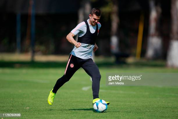 Nicolas Benedetti of America controls the ball during a the Club America training session at Club America facilities on February 12 2019 in Mexico...