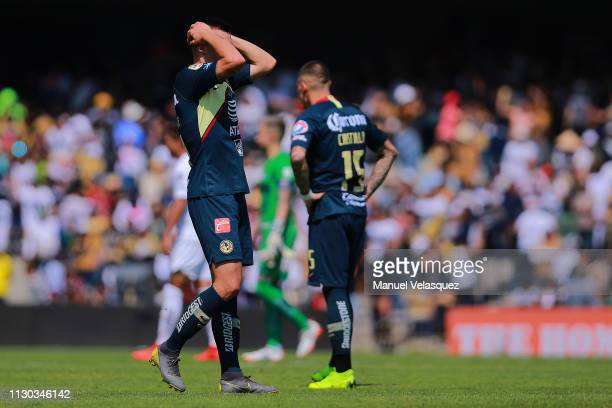 Nicolas Benedetti of America reacts during the seventh round match between Pumas UNAM and America as part of the Torneo Clausura 2019 Liga MX at...