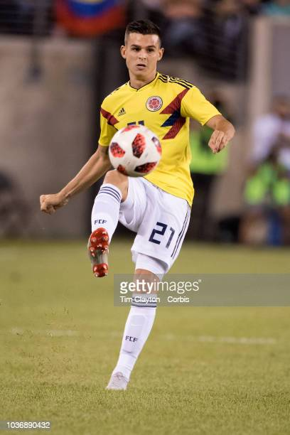 Nicolas Benedetti of Colombia in action during the Argentina Vs Colombia International Friendly football match at MetLife Stadium on September 11th...