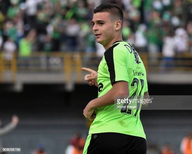 Nicolas Benedetti of Deportivo Cali celebrates after scoring a goal during the friendly match between Independiente Santa Fe and Deportivo Cali as...