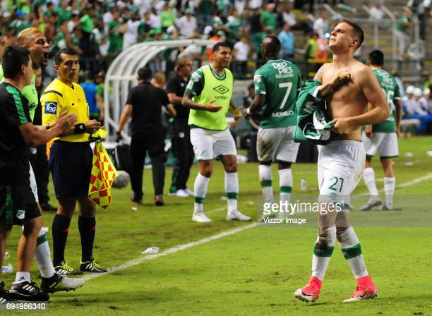 Nicolas Benedetti of Deportivo Cali celebrates after scoring the first goal of his team during the semi finals second leg match between Deportivo...