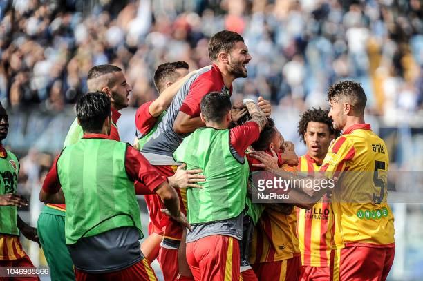 Nicolas Benito Viola of Benevento Calcio celebrates the goal of 11 during the Italian Serie B 2018/2019 match between Pescara Calcio 1936 FC and...