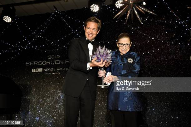 Nicolas Berggruen and Justice Ruth Bader Ginsburg pose onstage at the Fourth Annual Berggruen Prize Gala celebrating 2019 Laureate Supreme Court...