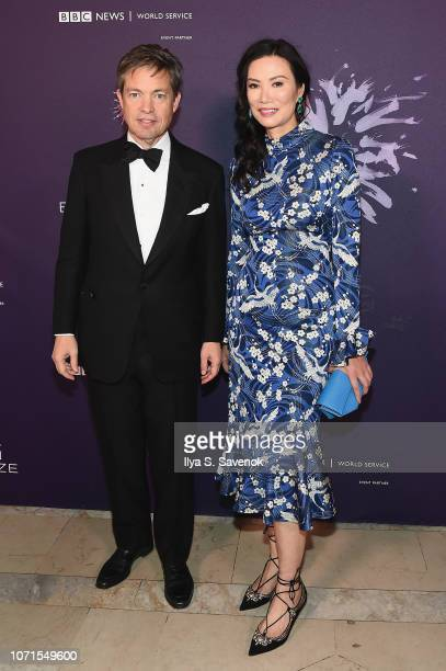 Nicolas Berggruen and Wendi Deng Murdoch attend the Third Annual Berggruen Prize Gala at the New York Public Library on December 10 2018 in New York...