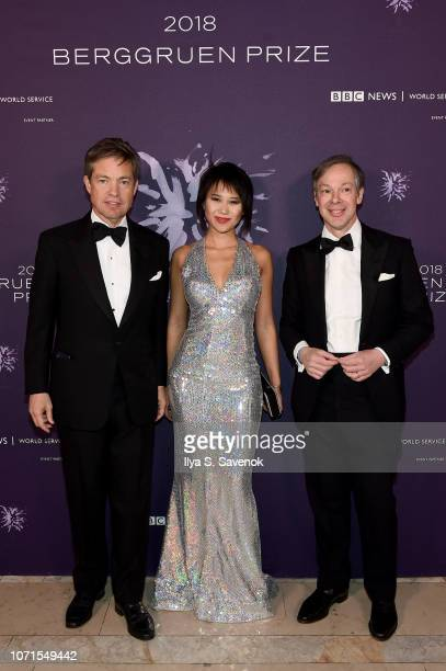 Nicolas Berggruen Yuja Wang and Olivier Berggreun attend the Third Annual Berggruen Prize Gala at the New York Public Library on December 10 2018 in...