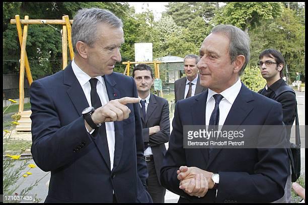 Nicolas Beytout , Bernard Arnault , Paris mayor Bertrand Delanoe, Marc Antoine Jamet at Jardin D'Acclimatation 150th Anniversary With Les Echos Des...