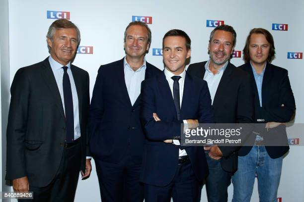Nicolas Beytout Guillaume Roquette Adrien Gindre Matthieu Croissandeau and Geoffroy Lejeune attend the LCI Press Conference to Announce Their TV...