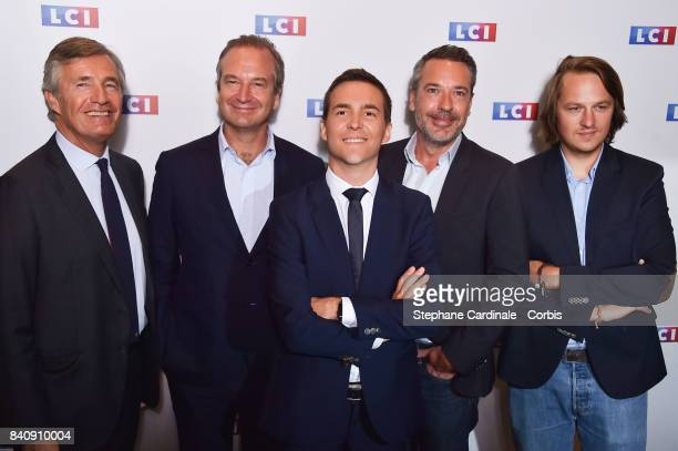Nicolas Beytout Guillaume Roquette Adrien Gindre Matthieu Croissandeau and Geoffrioy Lejeune attend the LCI Press Conference to Announce their TV...