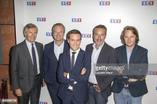 Nicolas Beytout Guillaume Roquette Adrien Gindre Mattieu Croissandeau and guest attend LCI Press Conference on August 30 2017 in Paris France
