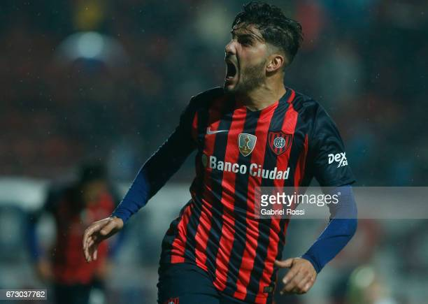 Nicolas Blandi of San Lorenzo celebrates after scoring the first goal of his team during a match between San Lorenzo and Universidad Catolica as part...