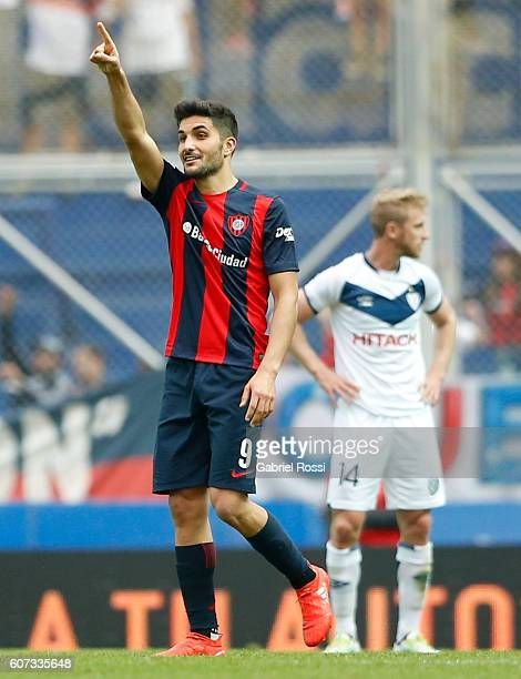 Nicolas Blandi of San Lorenzo celebrates after scoring the second goal of his team during a match between San Lorenzo and Velez Sarsfield as part of...
