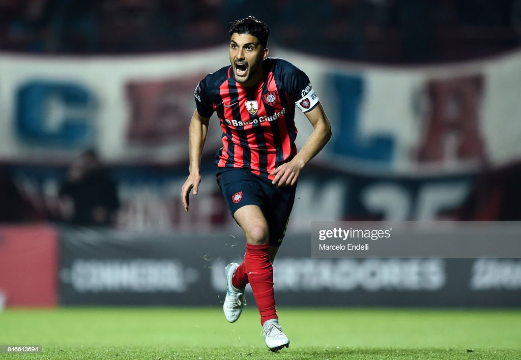 Nicolas Blandi of San Lorenzo celebrates after scoring the second goal of his team during a first leg match between San Lorenzo and Lanus as part of the quarter final of Copa CONMEBOL Libertadores Bridgestone 2017 at Pedro Bidegain Stadium on September 13, 2017 in Buenos Aires, Argentina.