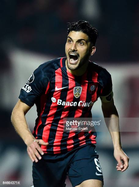 Nicolas Blandi of San Lorenzo celebrates after scoring the second goal of his team during a first leg match between San Lorenzo and Lanus as part of...