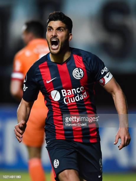 Nicolas Blandi of San Lorenzo celebrates after scoring the third goal of his team via penalty during a round of sixteen match between San Lorenzo and...
