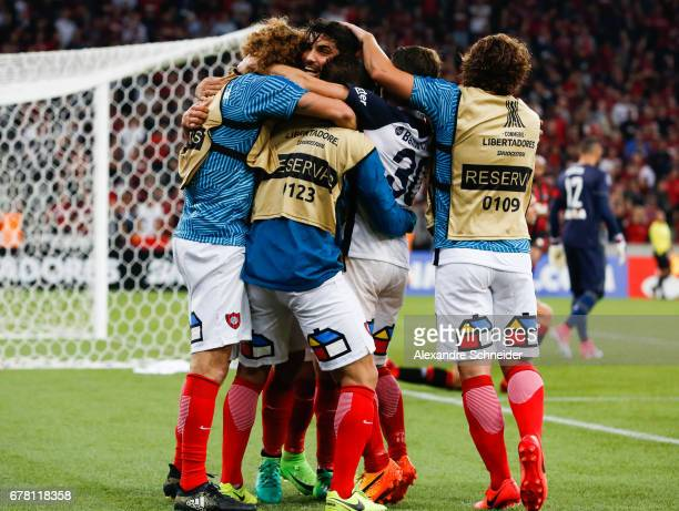 Nicolas Blandi of San Lorenzo celebrates after scoring their second goal during the match between Atletico PR of Brazil and San lorenzo of Argentina...