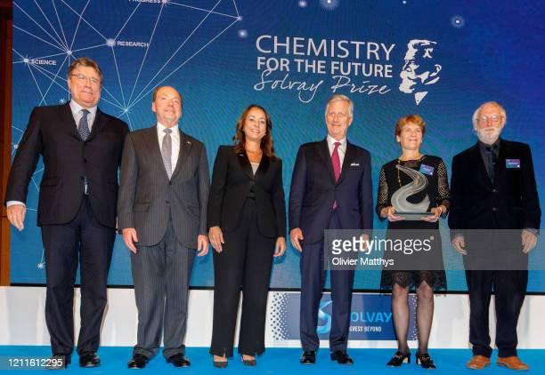 Nicolas Boël US Ambassador Ronald J Gidwitz Ilham kadri King Philippe of Belgium and Laureate professor Carolyn Bertozzi attend the Chemistry for the...