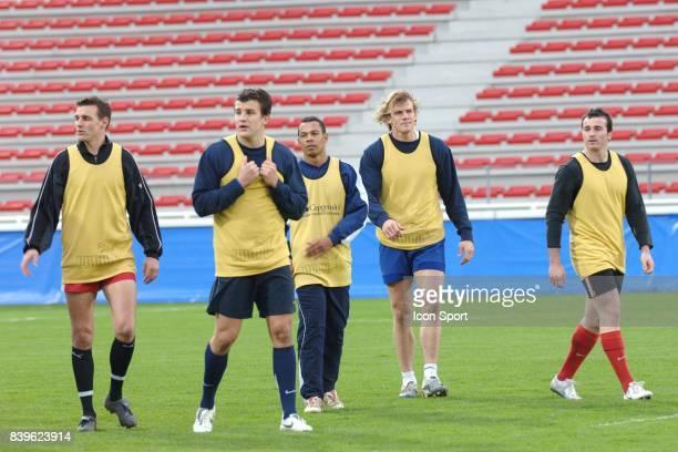 Nicolas BRUSQUE Damien TRAILLE Pepito ELHORGA Aurelien ROUGERIE Benoit BABY Entrainement des Barbarians en vue du match contre l'Argentine Stade...