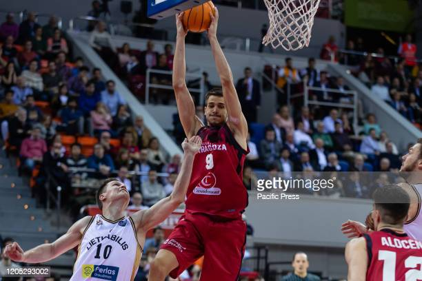 Nicolas Brussino of Casademont Zaragoza wins the rebound during FIBA Champions League Top 16 Group the first match between Casademont Zaragoza and...