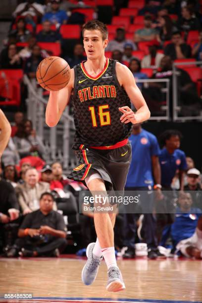 Nicolas Brussino of the Atlanta Hawks handles the ball against the Detroit Pistons on October 6 2017 at Little Caesars Arena in Detroit Michigan NOTE...