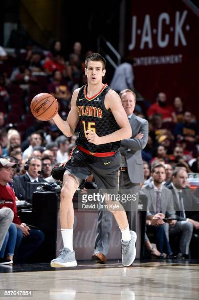 Nicolas Brussino of the Atlanta Hawks handles the ball during the preseason game against the Cleveland Cavaliers on October 4 2017 at Quicken Loans...