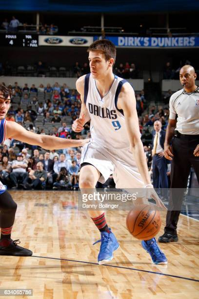Nicolas Brussino of the Dallas Mavericks handles the ball against the Philadelphia 76ers on February 1 2017 at the American Airlines Center in Dallas...
