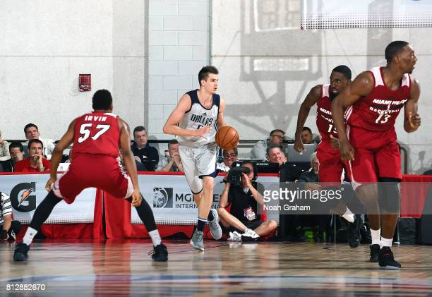 Nicolas Brussino of the Dallas Mavericks handles the ball against the Miami Heat during the 2017 Summer League on July 11 2017 at Cox Pavillion in...