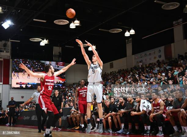 Nicolas Brussino of the Dallas Mavericks passes the ball against the Miami Heat during the 2017 Summer League on July 11 2017 at Cox Pavillion in Las...