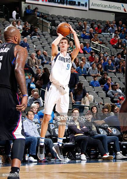 Nicolas Brussino of the Dallas Mavericks shoots a jumper against the LA Clippers on November 23 2016 at the American Airlines Center in Dallas Texas...
