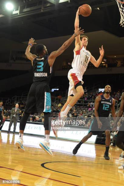 Nicolas Brussino of the Erie Bayhawks shoots the ball during the game against the Greensboro Swarm at the Erie Insurance Arena on November 18 2017 in...