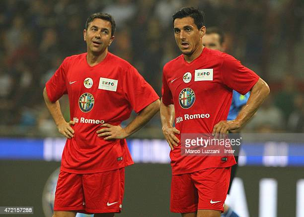 Nicolas Burdisso and Alessandro Costacurta during the Zanetti and friends Match for Expo 2015 at Stadio Giuseppe Meazza on May 4 2015 in Milan Italy