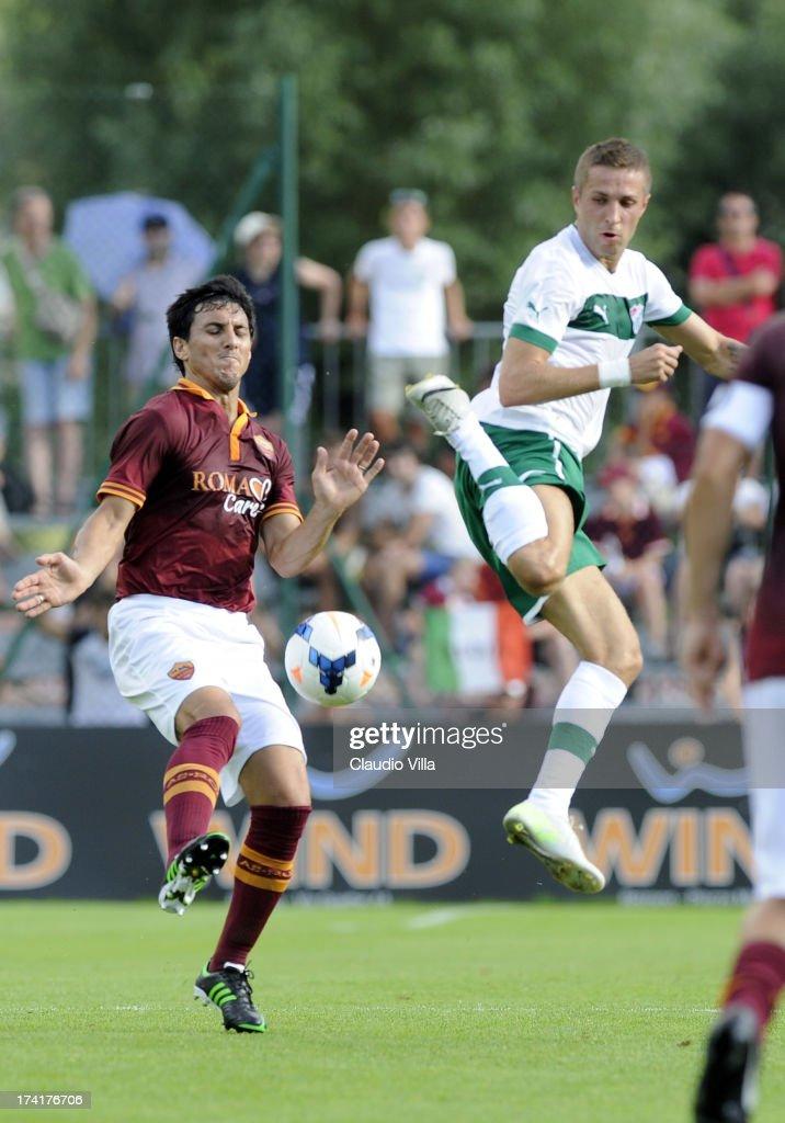 Nicolas Burdisso of AS Roma and Stanislav Sestak of Bursaspor Kulubu (R) compete for the ball during the pre-season friendly match between AS Roma and Bursaspor Kulubu on July 21, 2013 in Bruneck, Italy.