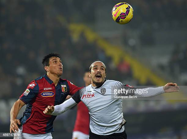 Nicolas Burdisso of Genoa and Alejandro Rodriguez of Cesena in action during the Serie A match between AC Cesena and Genoa CFC at Dino Manuzzi...