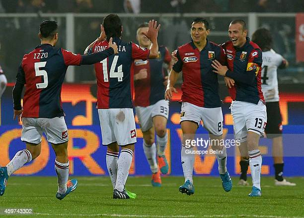 Nicolas Burdisso of Genoa celebrates after scoring the goal 03 during the Serie A match between AC Cesena and Genoa CFC at Dino Manuzzi Stadium on...