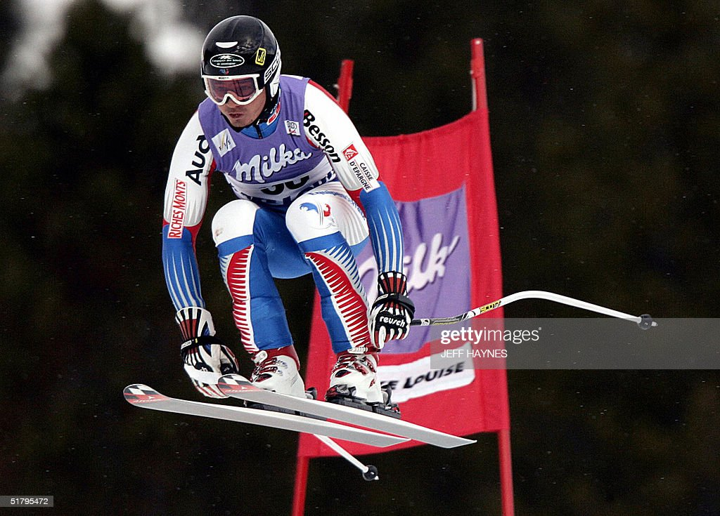 Nicolas Burtin of France skies past a gate on the Men's Downhill course 26 November, 2004 during the third training run at the Lake Louise Ski Resort in Lake Louise, Canada the site of the first men's downhill of the season. Burtin had a time of 1:46.53 to place 11th in the training run. The first downhill will take place on 27 November 2004.