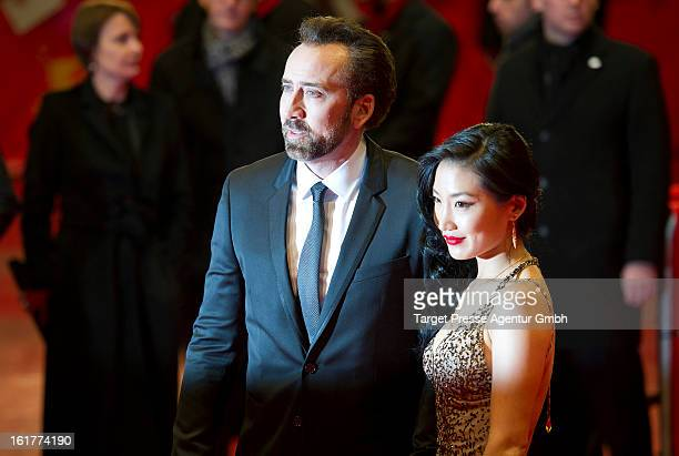 Nicolas Cage and Alice Kim attend 'The Croods' premiere during the 63rd Berlinale International Film Festival on February 15 2013 in Berlin Germany