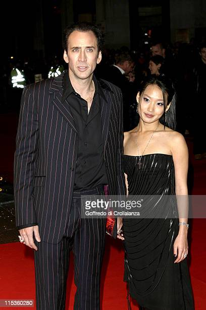 Nicolas Cage and Alice Kim during 'National Treasure' London Premiere at Odeon West End in London United Kingdom