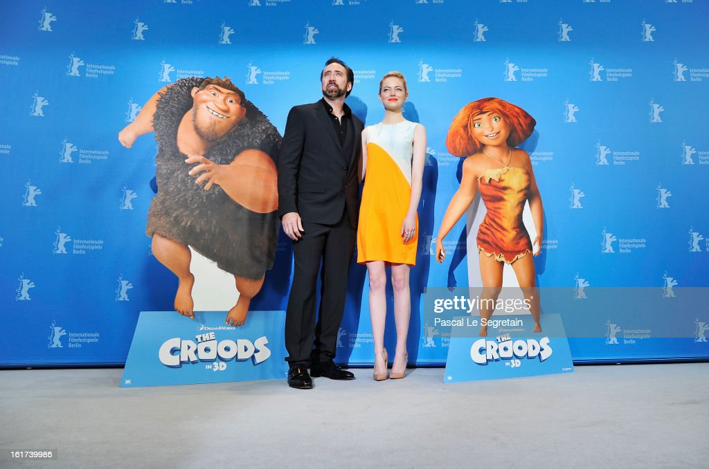 Nicolas Cage and Emma Stone attend the 'The Croods' Photocall during the 63rd Berlinale International Film Festival at the Grand Hyatt Hotel on February 15, 2013 in Berlin, Germany.