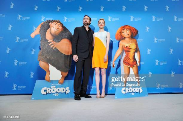 Nicolas Cage and Emma Stone attend the 'The Croods' Photocall during the 63rd Berlinale International Film Festival at the Grand Hyatt Hotel on...