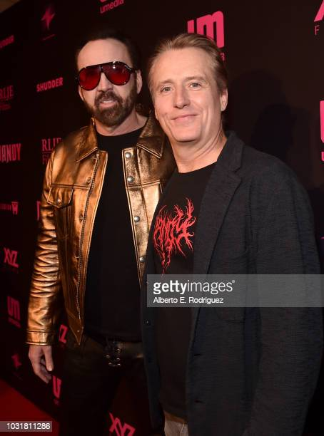 Nicolas Cage and Linus Roache attend the Los Angeles Special Screening And QA Of Mandy At Beyond Fest at the Egyptian Theatre on September 11 2018 in...