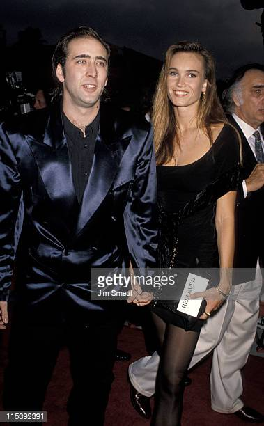 Nicolas Cage and Lisa Stothard during Wild At Heart Los Angeles Premiere at Cineplex Odeon Theater in Universal City California United States