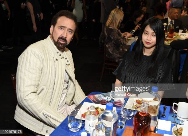 Nicolas Cage and Riko Shibata attend the 2020 Film Independent Spirit Awards on February 08, 2020 in Santa Monica, California.