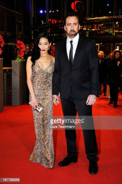 Nicolas Cage and wife Alice Kim attend the 'The Croods' Premiere during the 63rd Berlinale International Film Festival at Berlinale Palast on...