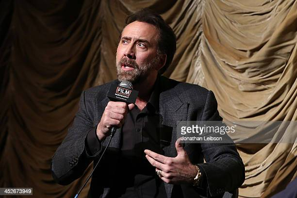 Nicolas Cage attends the Film Independent At LACMA Screening And QA Of The Croods at Bing Theatre At LACMA on November 30 2013 in Los Angeles...