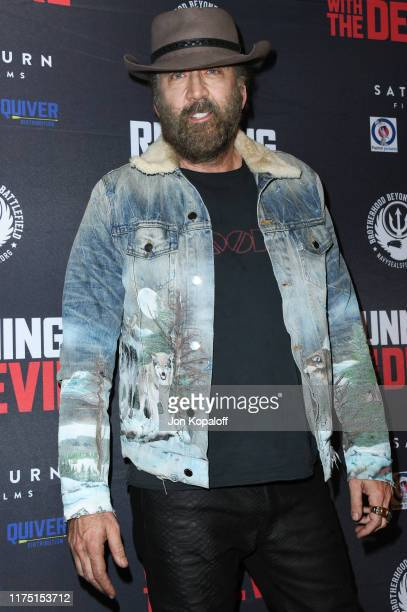 """Nicolas Cage attends the Premiere Of Quiver Distribution's """"Running With The Devil"""" at Writers Guild Theater on September 16, 2019 in Beverly Hills,..."""