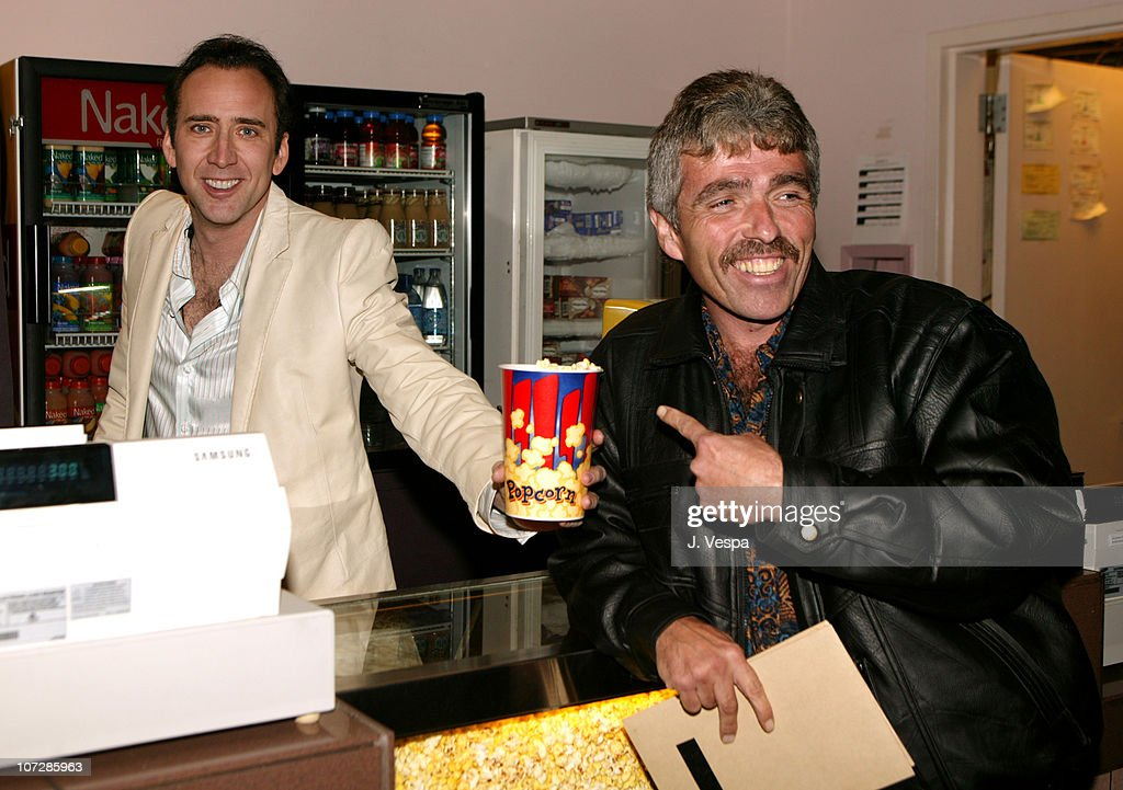 """Nicolas Cage Serves Popcorn to Fans on the Opening Day of His Directorial Debut, """"Sonny"""" : News Photo"""