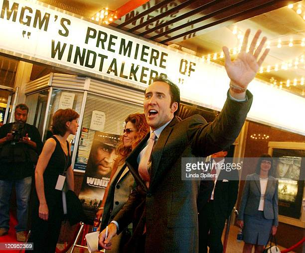 """Nicolas Cage enters the Uptown Theatre in Washington, DC for the world premiere of his new movie """"Windtalkers""""."""